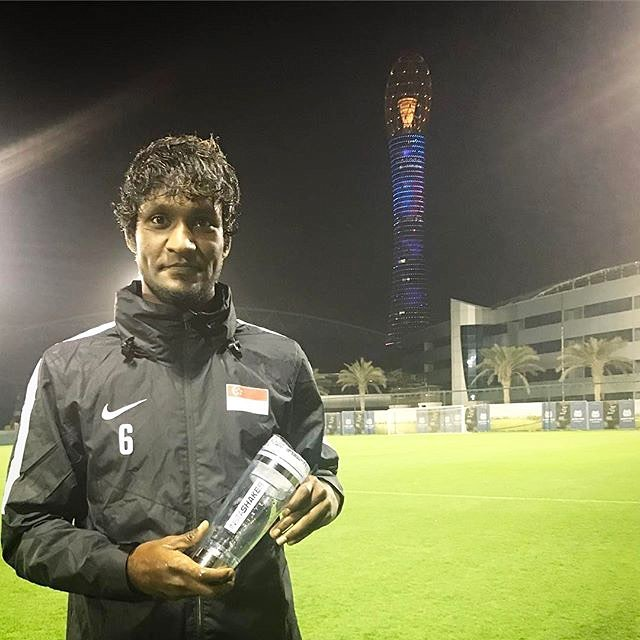 Singaporean footballer Madhu Mohana uses his InstaShaker after trainings withhellip